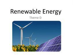 CCEA GCSE Geography Unit 2 Theme D - RENEWABLE ENERGY/TRANSPORT