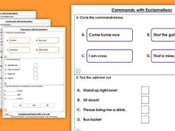 Grammar Year 1 Commands with Exclamations Spring Block 2 Homework Extension