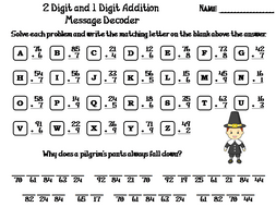 Two Digit and One Digit Addition Game: Thanksgiving Math Message Decoder