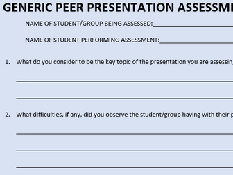 Peer Presentation Assessment Sheet