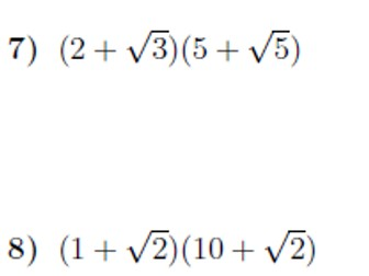 Multiplying out brackets including surds worksheet no 2 (with solutions)