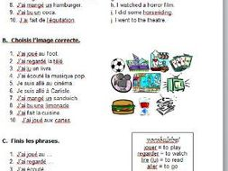 Easy French worksheet on perfect tense