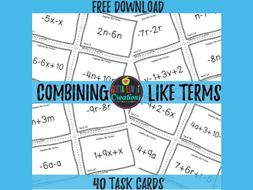 Free Download - Combining Like Terms Task Cards
