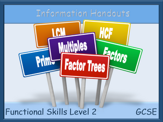 HCF, LCM and Prime Factor Trees information sheets - Functional Skills L2 GCSE