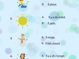 The Weather in French - Handout, Song and Quiz