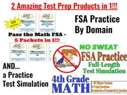 4th Grade Math MEGA-BUNDLE!   280 Practice Qsts by Domain PLUS FSA  Simulation!!!
