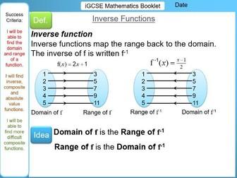 Function Notation, Domain & Range, Composite & Inverse Functions, Modulus - iGCSE Booklet