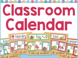 Yearly Classroom Calendar Set - All 12 Months