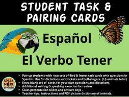 Spanish Task and Pairing Cards - El Verbo Tener en el Presente - Hablar y Escribir en español