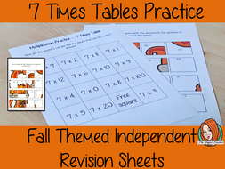 Fall Themed Independent Multiplication Revision Sheets 7x