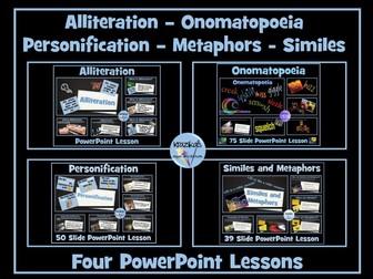 Literary Devices - Simile, Metaphor, Alliteration, Personification, Onomato