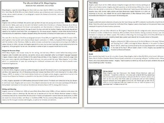 The Life and Work of Dr. Maya Angelou -  Reading Comprehension Worksheet / Text