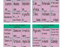 Adjectives Tic-Tac-Toe or Bingo Game