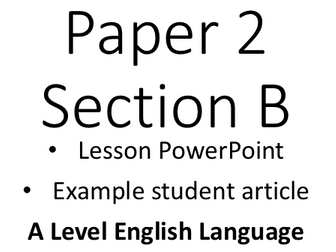 A Level English Language Example Student Articles/ Opinion