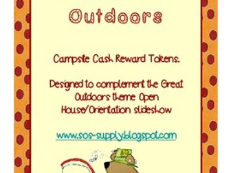 Back To School Campsite Cash Reward Tokens - Great Outdoord Theme (suitable for UK and US)