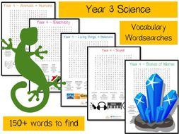 Year 3 Science vocabulary word searches x 5 - over 150 terms