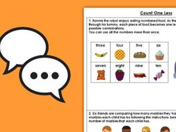 Year 1 Count One Less Autumn Block 1 Maths Discussion Problems