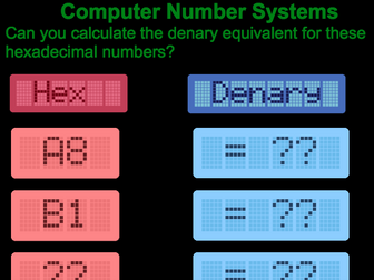 Computer Science denary to hexadecimal posters