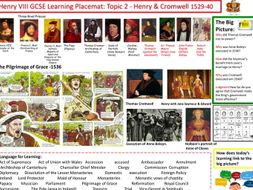 9-1 Edexcel History Learning/Topic Placemat for Henry VIII and his Ministers - Topic 2 - Henry & Cro