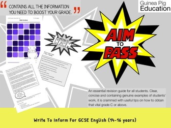 Write To Inform (GCSE English Writing Work Pack) (14-16 years)