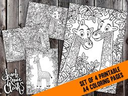 Printable Coloring Pages Set - 4x Detailed Giraffe Coloring Pages - A4 PDF coloring pages