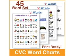 Three letter (CVC) Word Charts   45 Word Set by kinneybrothers