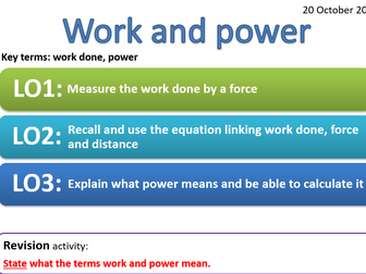 CP7a - Work and power -work done, power