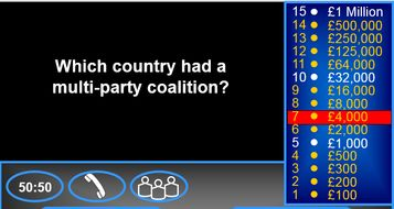 AQA Government and Politics AS Who wants to be a millionaire
