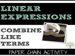 Combine like terms: Add, Subtract & Multiply Linear Expressions Paper Chain