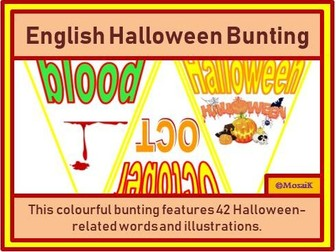 English 42 Flags of Halloween Bunting