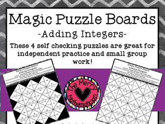 Adding Integers Magic Puzzle Boards