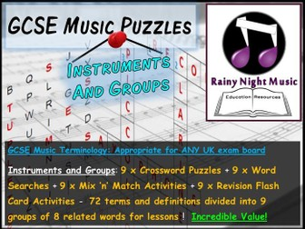 GCSE Music Language for Learning INSTRUMENTS Bellringers Starters Revision Activities