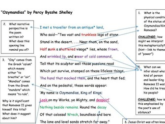 "GCSE Poetry Anthology: ""Ozymandias"" Analysis Task"