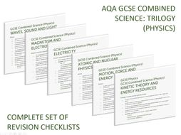 Complete set of Physics revision checklists for GCSE