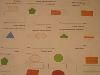 2D shapes and properties- naming, number of corners, sides, straight and curved sides.