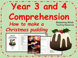 Christmas pudding recipe comprehension - Year 3 and 4