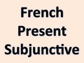 Present French Subjunctive Task Cards