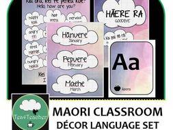 Maori Language Classroom Decor Set 16 Word Phrase Posters Birthday Chart
