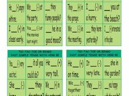 Past Simple Tense with Verb Be Tic-Tac-Toe or Bingo