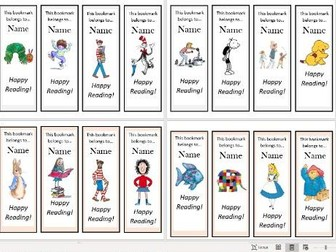 Book Character Bookmarks (Editable)