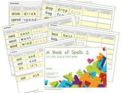 Phonics for SEN: Book of Spells 2 - Spelling Practice Books - VCC CVCC CCVC CCVCC Sets 1-7 sounds