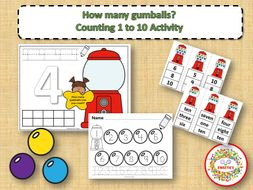 Count 1 to 10 - How Many Gumballs Counting Activity
