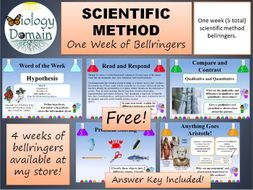 One week of Scientific Method Bellringers Warm Ups with Answer Key FREE!