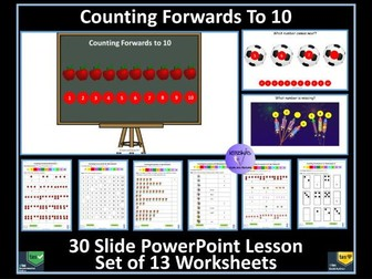 Counting to 10: PowerPoint Lesson and Worksheets