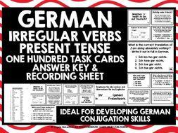 GERMAN CHALLENGE CARDS IRREGULAR VERBS PRESENT TENSE