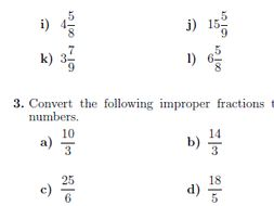 Improper fractions and mixed numbers worksheet (with solutions) by ...