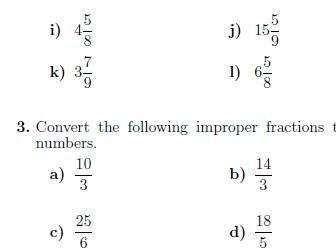 Improper fractions and mixed numbers worksheet (with solutions)