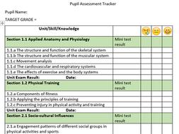 GCSE PE OCR student knowledge tracker