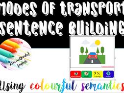 Modes of transport sentence building using colourful semantics