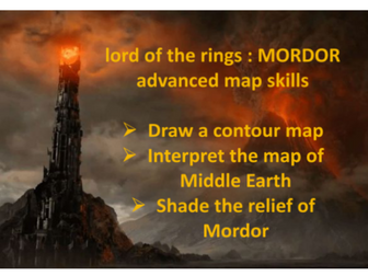 Lord of the Rings themed map skills contour lines and relief KS3